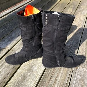 Black suede zip up boots girls size 3